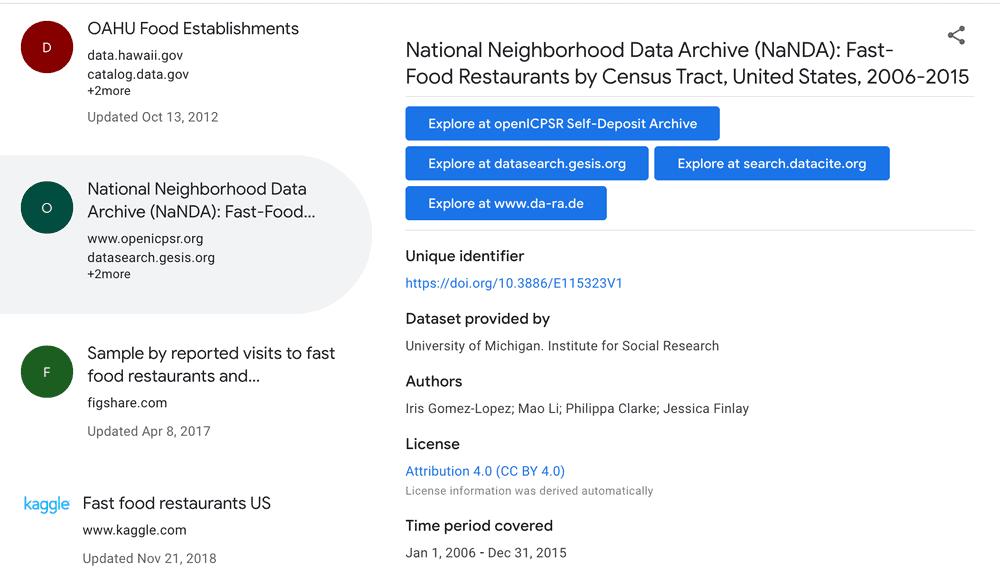 Búsqueda de conjunto de datos -
