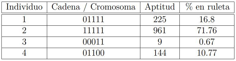 Ejemplos de individuos de una población de algoritmos genéticos